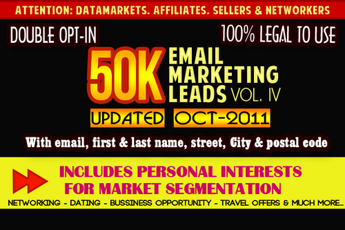 Product picture 50K Double Opt Leads - Vol IV - Updated Oct2011