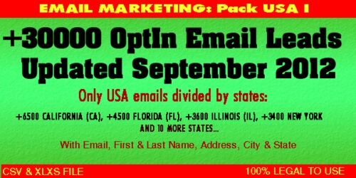 Product picture USA Emails opt in leads - Updated September 2012